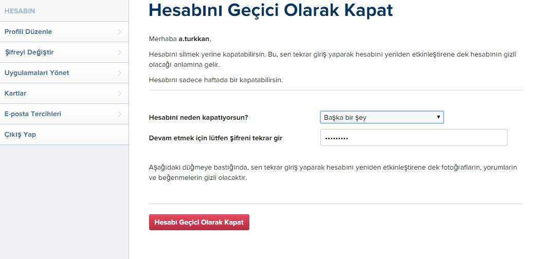 instagram Hesap Dondurma