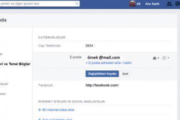 Facebook Mail Adresi Değiştirme