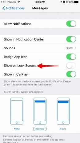 iphone gelen mesaj ekranda görünmesin