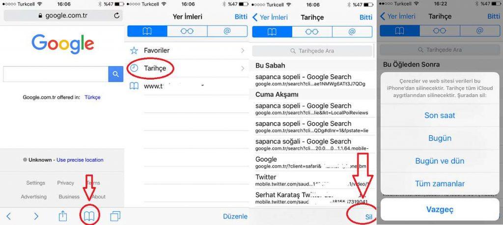 iPhone Safari Geçmişi Silme