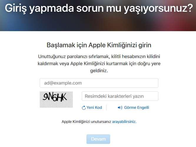 Apple Kimliğimi Unuttum