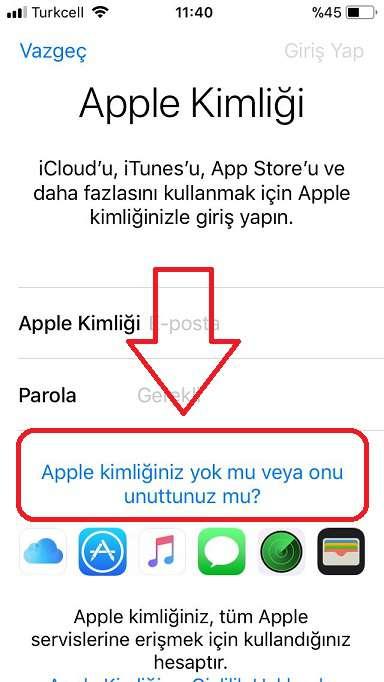 Bir Apple kimliğin yok mu, yoksa unuttunuz mu