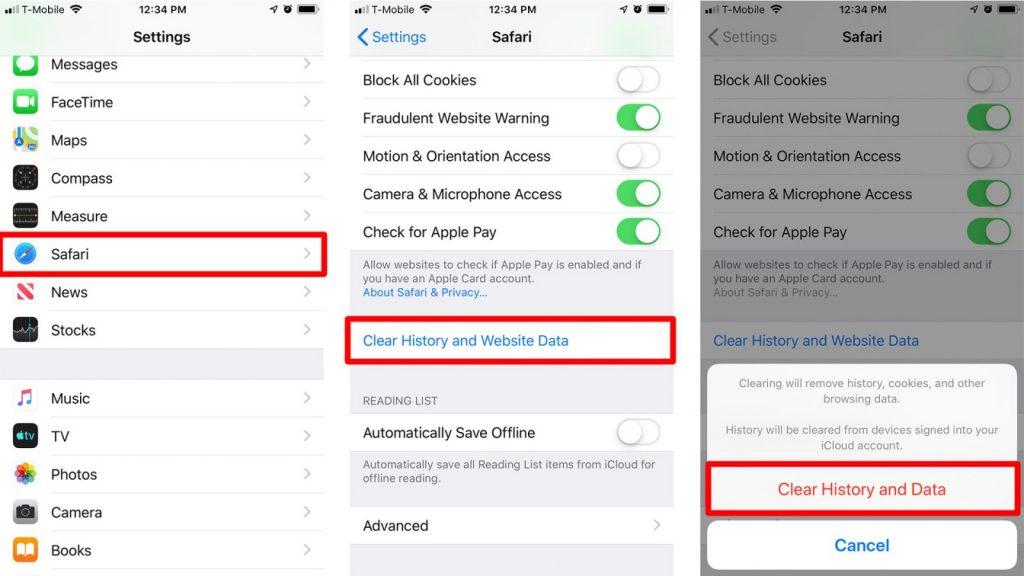 Safari iPhone Telefonda Girilen Siteleri Silme
